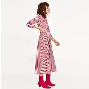 5f6e170e605 Zara Dresses - NWT Zara Red White Striped Midi Shirt Dress